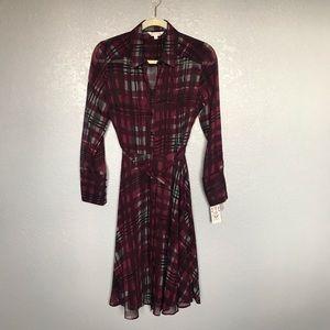 NWT Nanette Lepore Purple Checkered Shirt Dress